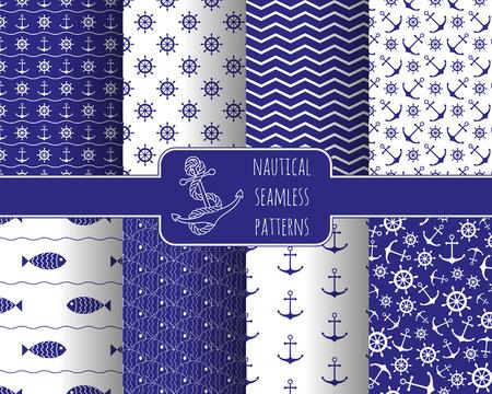 marinero: Patrones náuticas Conjunto inconsútil con ruedas anclas de barco. Elemento de diseño para fondos de pantalla, invitación de la ducha del bebé, tarjeta de cumpleaños, reservación del desecho, de impresión de tela, etc.