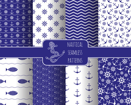 cute cartoon boy: Seamless nautical patterns set with anchors ship wheels. Design element for wallpapers, baby shower invitation, birthday card, scrap booking, fabric print etc.