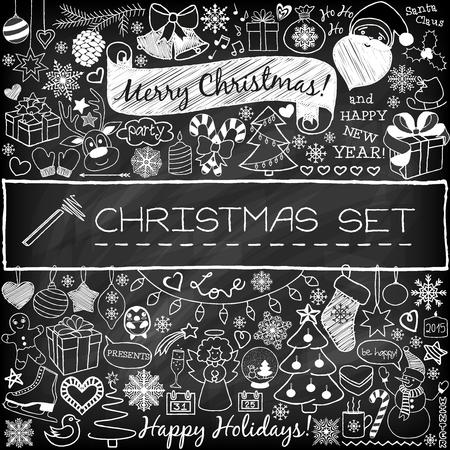 クリスマス シーズンのアイコンやヴィンテージのグラフィック要素を落書き。黒板の効果。サンタ クロース、トナカイ、雪だるま、かわいいクリス  イラスト・ベクター素材