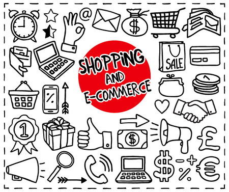 line up: Doodle Shopping and E-commerce icons set. Freehand drawn graphic elements. Vector illustration.