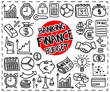 Doodle Finance, Banking and Budget icons set. Freehand drawn graphic elements. Vector illustration.