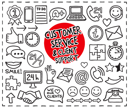 Doodle Customer Service icons set. Freehand drawn graphic elements. Vector illustration.