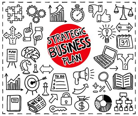 business diagram: Strategic Business Plan icons set. Freehand doodle icons set. Graphic elements. Vector illustration