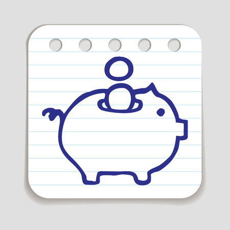 blue pen: Doodle Piggy Bank icon. Blue pen hand drawn infographic symbol on a notepaper piece. Line art style graphic design element. Web button with shadow. Savings, investment, falling coins, money concept.