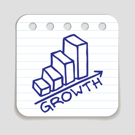 blue pen: Doodle Growth Chart icon. Blue pen hand drawn infographic symbol on a notepaper piece. Line art style graphic design element. Web button with shadow. Success, bigger sales, achievement concept.