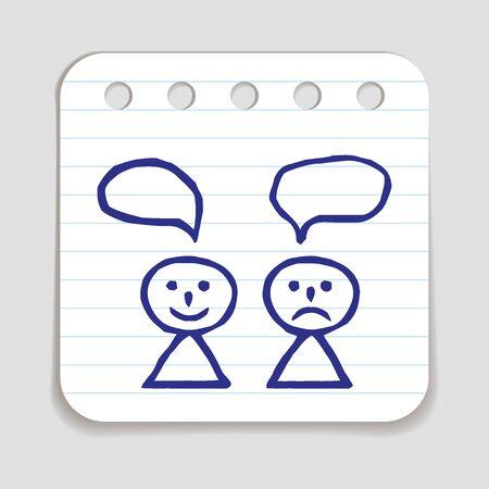 persona triste: Doodle feliz y triste icono de la persona.