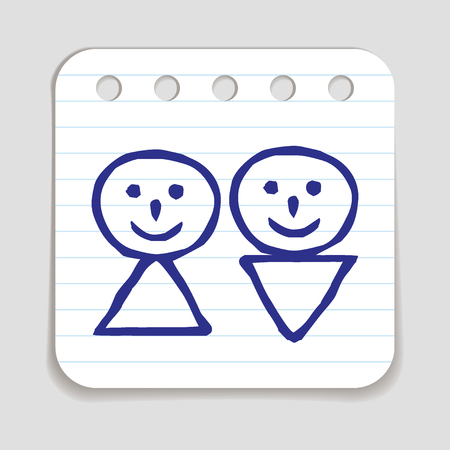 blue pen: Doodle Man and Woman icon. Blue pen hand drawn infographic symbol on a notepaper piece. Line art style graphic design element. Web button with shadow. Couple, wedding, gender, people concept.