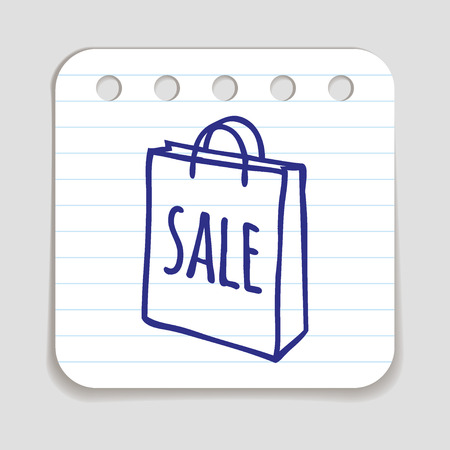 retail store: Doodle Shopping Bag icon. Illustration