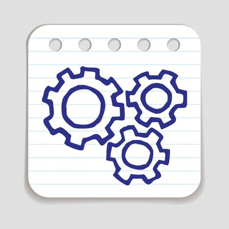 blue pen: Doodle Gears icon. Blue pen hand drawn infographic symbol on a notepaper piece. Illustration