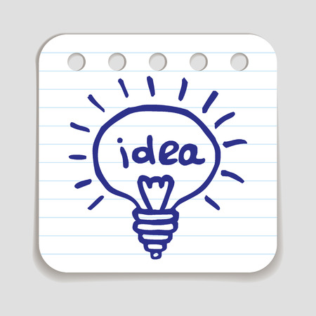 blue pen: Doodle Light Bulb icon. Blue pen hand drawn infographic symbol on a notepaper piece.