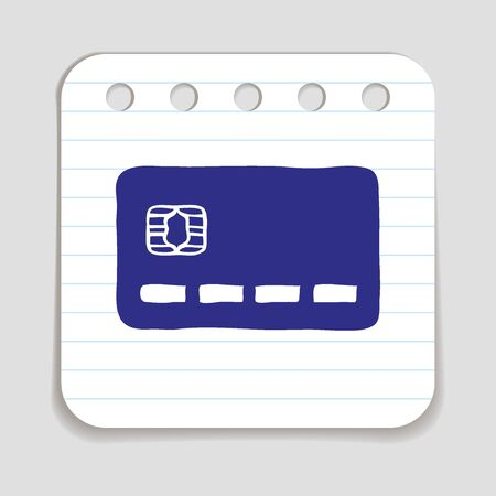 blue pen: Doodle Credit Card icon. Blue pen hand drawn infographic symbol on a notepaper piece.