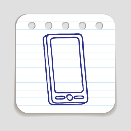 mobile phone icon: Doodle Mobile phone icon. Blue pen hand drawn infographic symbol on a notepaper piece.