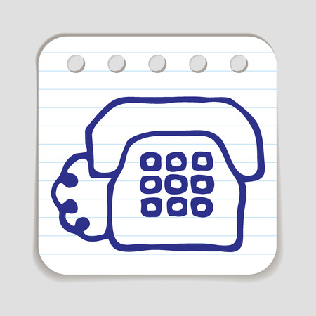 educative: Doodle Telephone icon. Blue pen hand drawn infographic symbol on a notepaper piece. Illustration