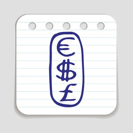 blue pen: Doodle Currencies icon. Blue pen hand drawn infographic symbol on a notepaper piece.