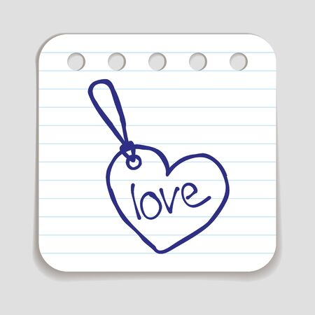 blue pen: Doodle Tag icon. Blue pen hand drawn infographic symbol on a notepaper piece. Stock Photo