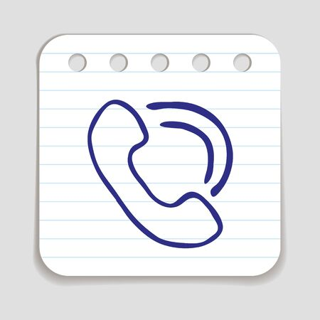 blue pen: Doodle Telephone icon. Blue pen hand drawn infographic symbol on a notepaper piece. Illustration