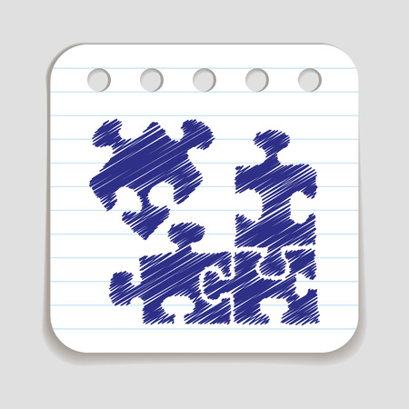 blue pen: Doodle Puzzle icon. Blue pen hand drawn infographic symbol on a notepaper piece.