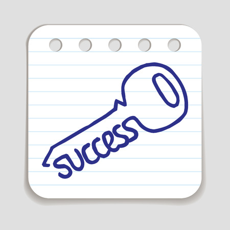 Doodle Key to Success icon. Blue pen hand drawn infographic symbol on a notepaper piece. Illustration