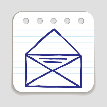 blue pen: Doodle Email icon. Blue pen hand drawn infographic symbol on a notepaper piece. Illustration