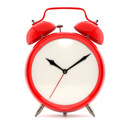 red black: Alarm clock on white background with shadow. Vintage style red color clock with black hands.