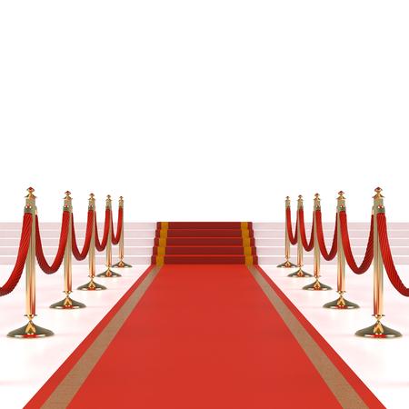 luz roja: Alfombra roja con cuerdas rojas en los candeleros de oro
