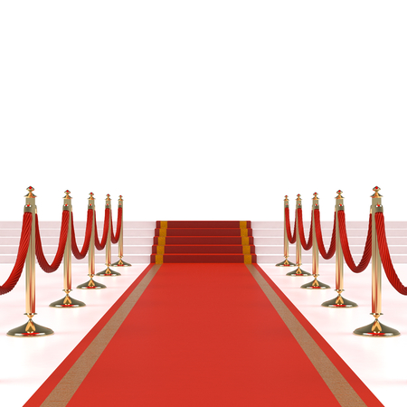 velvet rope barrier: Red carpet with red ropes on golden stanchions Stock Photo