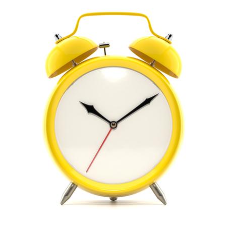 影と白い背景の上の目覚まし時計。 写真素材
