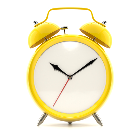 Alarm clock on white background with shadow.