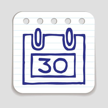 blue pen: Doodle Calendar icon with last day of month. Blue pen hand drawn infographic symbol on a notepaper piece. Line art style graphic design element. Deadline, appointment, planning, responsibility concept