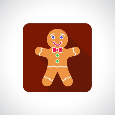 gingerbread: Christmas Gingerbread Cookie icon. Infographic symbol with shadow. Festive style graphic design element. Flat style web button. Traditional celebration concept. Illustration
