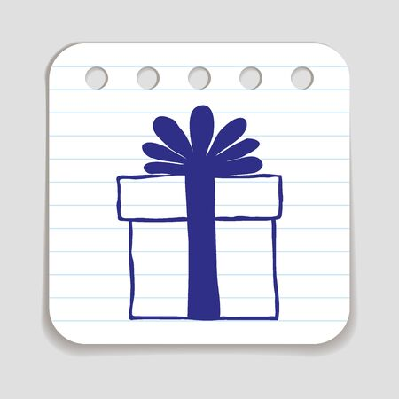 holiday shopping: Doodle Gift Box icon. Blue pen hand drawn infographic symbol on a notepaper piece. Line art style graphic design element. Web button with shadow. Free, present, holiday shopping, Black Friday concept Illustration