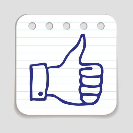 approval button: Doodle Thumbs Up icon. Blue pen hand drawn infographic symbol on a piece of notepaper. Line art style graphic design element. Web button with shadow. Approval, vote, love, favorite gesture concept.
