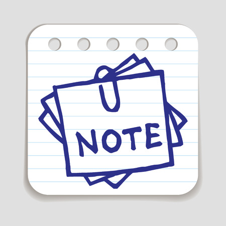 taking notes: Doodle Note icon. Blue pen hand drawn infographic symbol on a notepaper piece. Line art style graphic design element. Web button with shadow. Office supplies, taking notes concept.