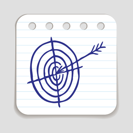 blue pen: Doodle Arrow Hitting a Target icon. Blue pen hand drawn infographic symbol on a notepaper piece. Line art style graphic design element. Web button with shadow. Goal, achievement, precise hit concept.