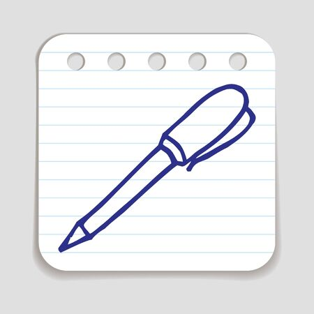 art piece: Doodle Pen icon. Blue pen hand drawn infographic symbol on a notepaper piece. Line art style graphic design element. Web button with shadow. Writing, office supply, signing  concept.