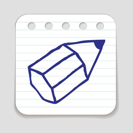 art piece: Doodle Pencil icon. Blue pen hand drawn infographic symbol on a notepaper piece. Line art style graphic design element. Web button with shadow. Writing, office supply, signing  concept.