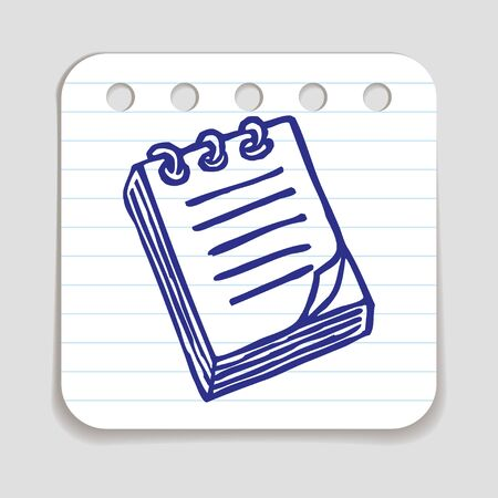 art piece: Doodle Notepad icon. Blue pen hand drawn infographic symbol on a notepaper piece. Line art style graphic design element. Web button with shadow. Office supplies, taking notes concept.