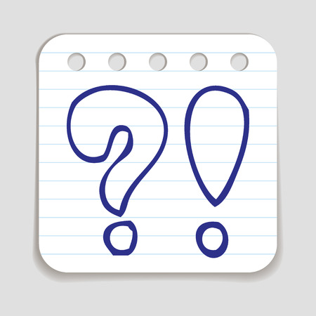 educative: Doodle Question and Exclamation Mark icon. Blue pen hand drawn infographic symbol on a notepaper piece. Line art style graphic design element. Web button with shadow. Customer service concept.