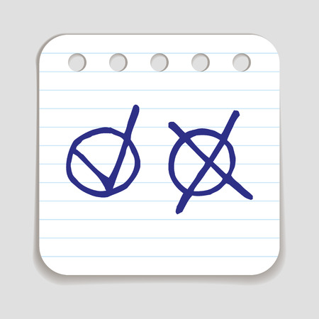 disapproval: Doodle Check icon. Blue pen hand drawn infographic symbol on a notepaper piece. Line art style graphic design element. Web button with shadow. Choice, vote, approval or disapproval concept. Illustration