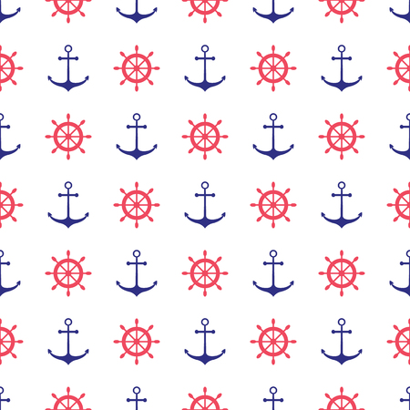 boy and girl: Seamless nautical pattern with anchors. Design element for wallpapers, baby shower invitation, birthday card, scrap booking, fabric print etc.