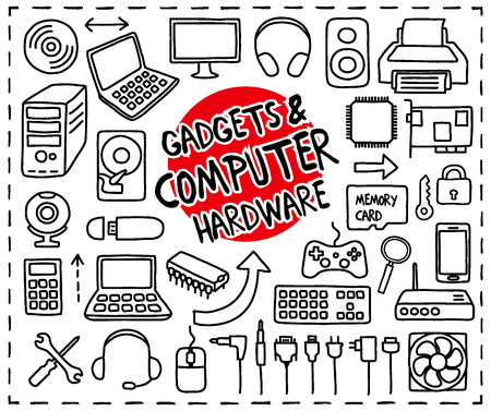 computer keyboard: Doodle Gadgets and Computer Hardware icons set. Freehand drawn graphic elements.