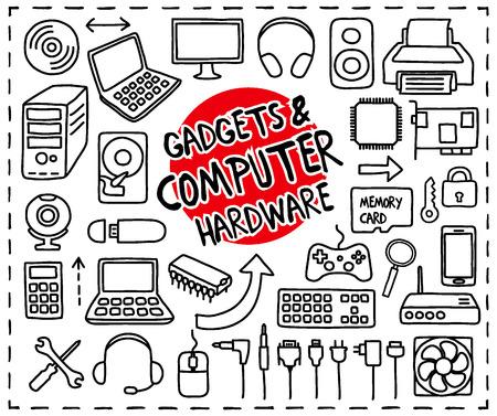 lijntekening: Doodle Gadgets en Computer Hardware iconen set. Uit de vrije hand getekende grafische elementen.