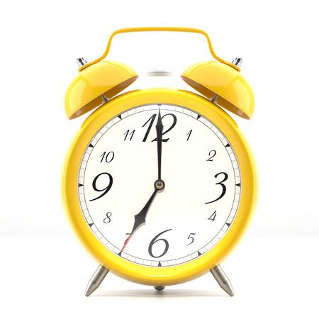 그림자와 흰색 배경에 알람 시계입니다. 검은 손 빈티지 스타일의 노란색 시계.