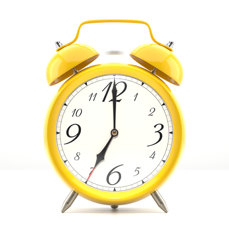 old clock: Alarm clock on white background with shadow. Vintage style yellow color clock with black hands.