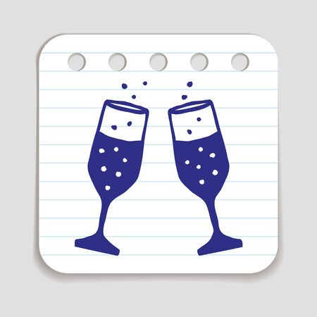 art piece: Doodle icon of Champagne Glasses.  Blue pen hand drawn infographic symbol on a notepaper piece. Line art style graphic design element. Web button with shadow. Vector illustration Illustration