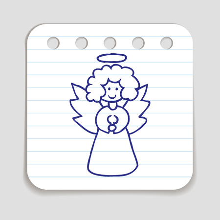 angel white: Doodle icon of Christmas Angel.  Blue pen hand drawn infographic symbol on a notepaper piece. Line art style graphic design element. Web button with shadow. Vector illustration