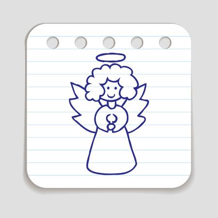 angeles bebe: icono del Doodle del ángel de la Navidad. Azul de la mano lápiz dibuja el símbolo infografía en una hoja de carta. Línea de estilo art elemento de diseño gráfico. botón de la web con la sombra. ilustración vectorial