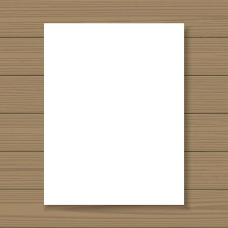 background stationary: Blank paper flyer mock up format A4 on wooden background. Branding template with place for caption. Corporate identity presentation. Vector illustration. Illustration