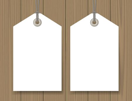 hang tag: Blank sale tags mock up set on wooden background. Hang tag with a string. Shopping badge with place for price and discount captions. Clearance sale template. Vector illustration.