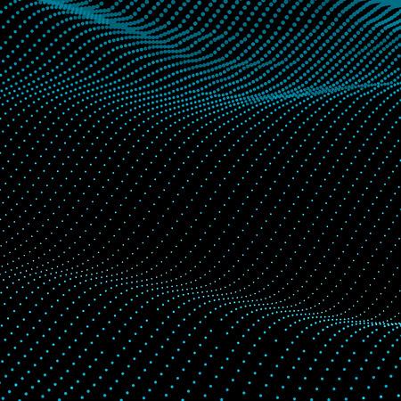 抽象的なボケ味は、波をドットします。ベクトルの背景。黒にグリーン。